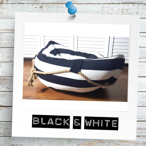 "Hundeboot ""Black & White"" Canvas & Tau"